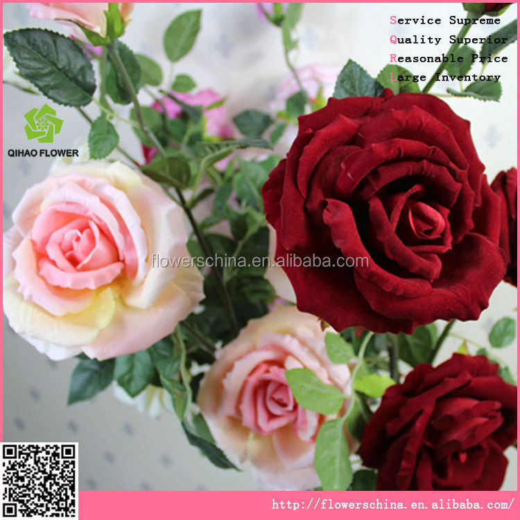 Fake fabric fabric rose flower wholesale ,silk rose flower for wedding car&dresses
