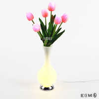 Wedding decor RGB color changing high emulational artificial Tulip led vase lights,flowers lamp