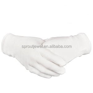 "White Cotton Gloves 8.6"" Large Size for Coin Jewelry Silver Inspection Etiquette gloves Electronic work"