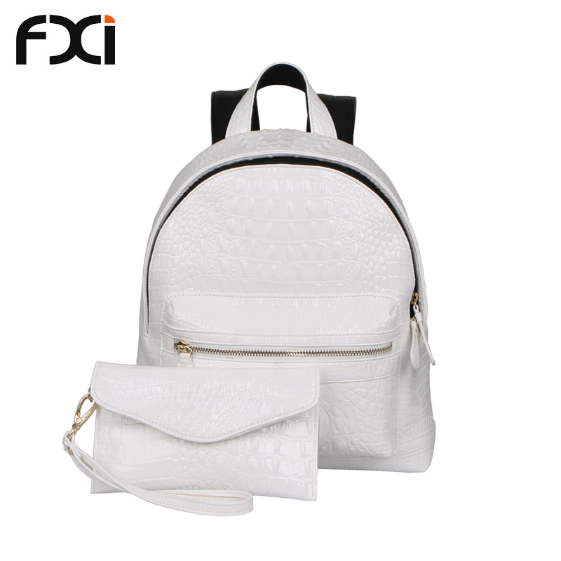 24ded0cb1a Get Quotations · 2015 white crocodile pu leather cute backpacks high school  girls bookbags school bags for teenagers mochila