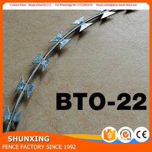 Alibaba China Trade Assurance ISO9001 Galvanized Razor Wire BTO-22\CBT-65\Razor barbed wire\concertina razor wire