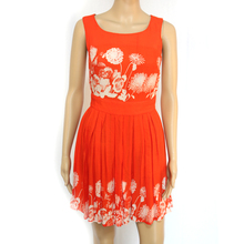 Lace Detail With red Print Lady Dress
