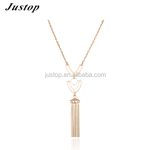 2016 latest design saudi gold premier women jewelry tassel necklace wholesale