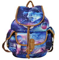 New Style Women's Bag Fashion Planets Printing Lady's Backpack Canvas School Bag