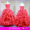 Unique Sweetheart Neckline Sleeveless Pleated Organza Rose Red Ball Gown Quinceanera Dresses