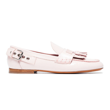 Pink patent brogues leather buckles tassel loafers women shoes flat