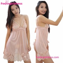Wholesale Transparent Lace Sleepwear Sexy Adult Girl Babydoll Open