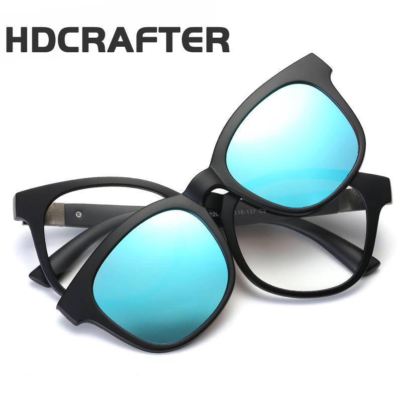 HDCRAFTER Fashion Designer Square Reading UV400 TR90 Removable Eyewear Frame + Polarized Sunglasses Women/Men Clips Glasses