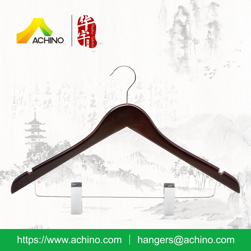 Mahogany color Wooden Suit Hanger with chrome clips WCOH100M