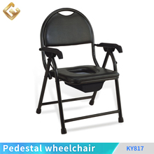 Adjustable foldable patient home care outdooors disabled commode toilet chair