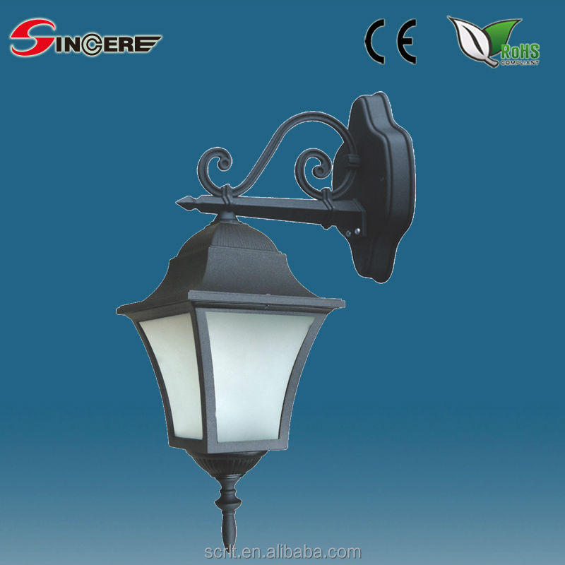 SC-SUE206DN 1 Light Traditional Outdoor Lantern Wall Light IP43 Rated Cast Aluminium Alchromated Black Finish