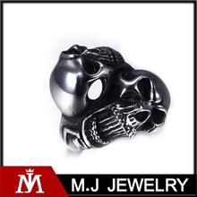 Fashion Punk Unisex Silver Black 316L Stainless Steel Double Skull Head Ring