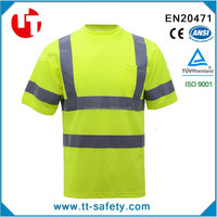 china yellow safety reflective short sleeve high visibility shirts wholesale