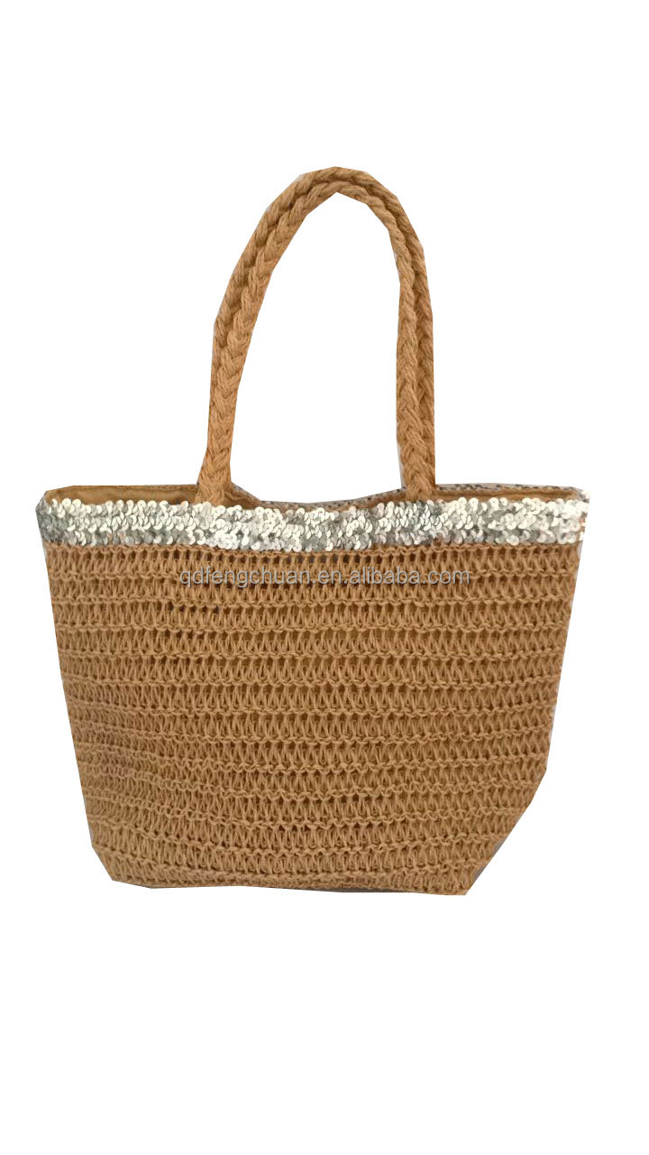 women crochet beach paper straw bag