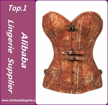 Hot Selling Beautiful Elegant Steel Boned Brown Brocade Corset For Women