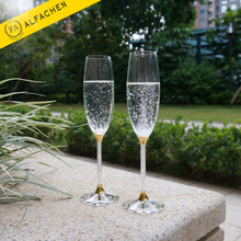 Customize Names Golden Glassware Champagne Flutes Crystal Cup Gifts for Newly Married Couple