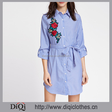 New design hot sale clothes manufacturer fashion lady blue Striped Embroidered Rose Patch Belted long Shirt Dress