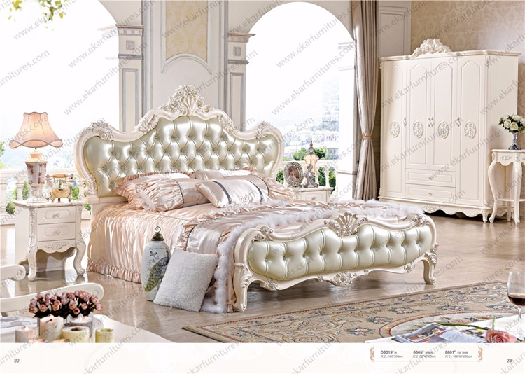 French Style Hand Carved Leather Bed With Bedside Table