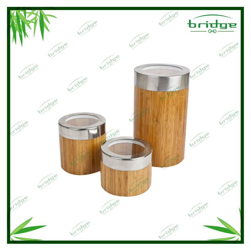 Bamboo kitchen storage canister set