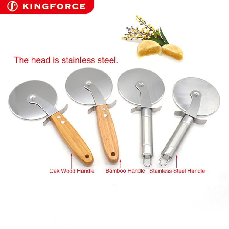 High quality Factory manufacturer stainless steel round novelty pizza cutters wheel with wood handle