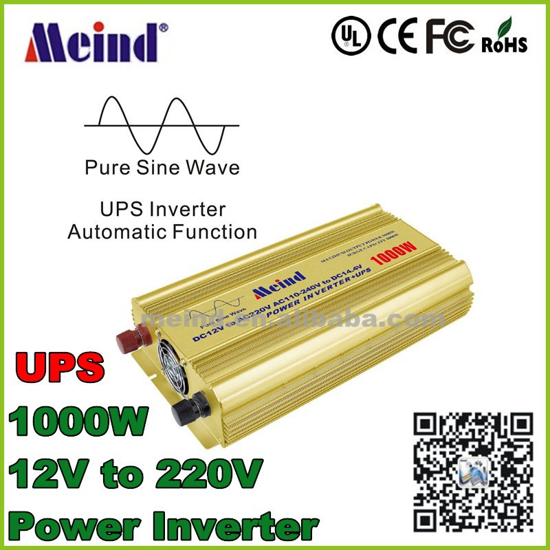 1000W UPS Inverter dc 12V to ac 220V power converter with battery charger function