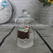 mini lovely glass cake cheese dome stand with tall metal base