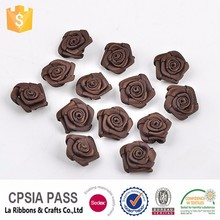 New Arrival polyester satin ribbon decorative flowers artificial mini roses