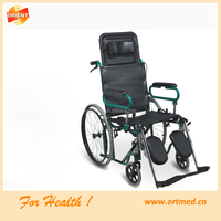 handicapped Reclining wheelchair with Elevating footrest