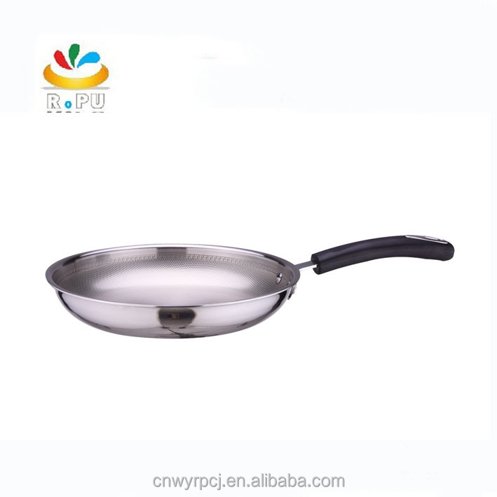2017 Partent technology honeycomb bottom18cm 20cm 22cm stainless steel Stir fry pan with silicon handle