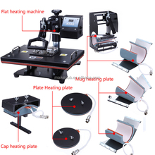 best selling 8 in 1 mult-function sublimation heat press machine 8 in 1 t-shirt printing plate and mug printing
