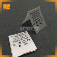 custom printed polyester satin garment wash care labels