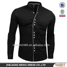 2016 fashion slim fit collarless casual shirt for men