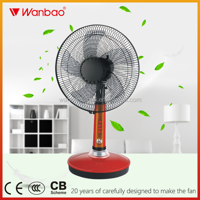 16 inch DC rechargeable fan with light battery stand table fan air cooler fan