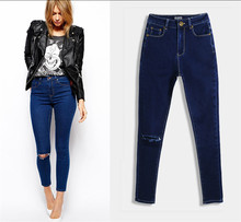 C73170A Ladies latest fashion fancy jeans lady narrow feet jeans