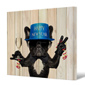 1 Piece Funny Wall Art Wood Texture Background Christmas Dog Champagne Canvas Wall Picture Home Wall Decor for New Year/Al10114
