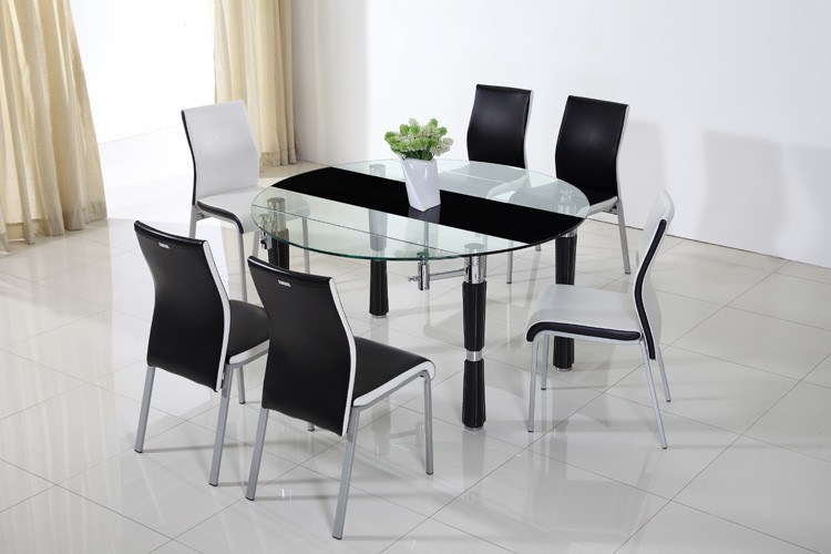 Modern Extendable Round Dining Table Glass Furniture Dining Room
