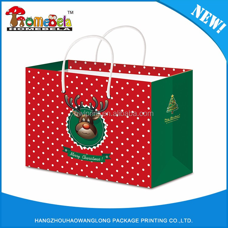 Xmas gift paper bags retail shopping bags