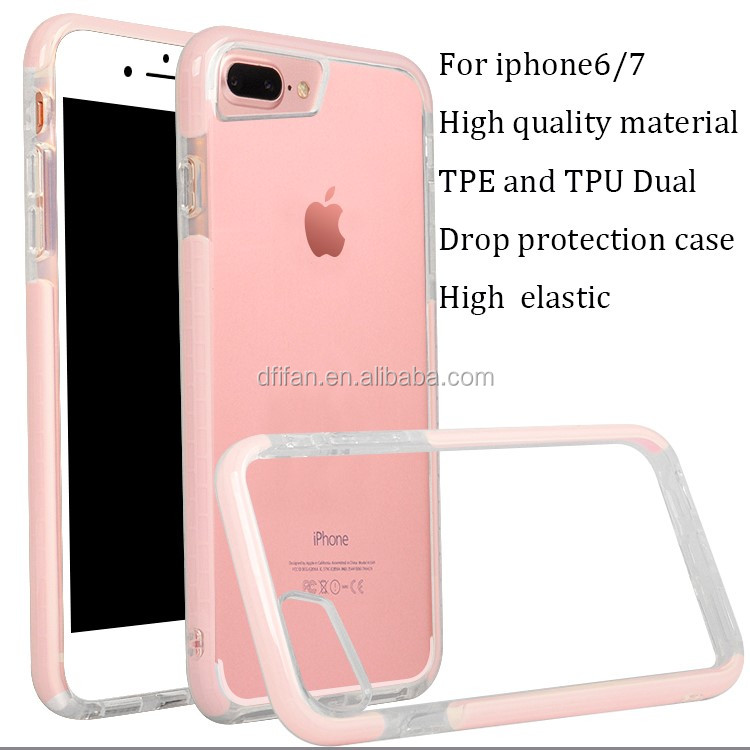 DFIFAN anti crack mobile phone case for iphone 6 7 ,2017 trending products TPE wrapped TPU cover case for apple iphone 7 plus