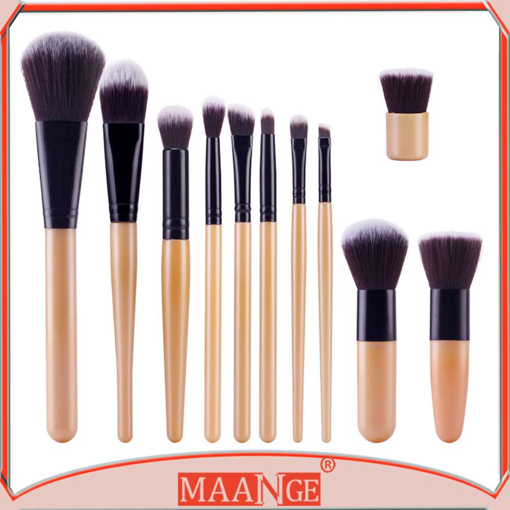 2016 new arrival low price 11pcs plastic handle private label cosmetics brush makeup brushes free samples