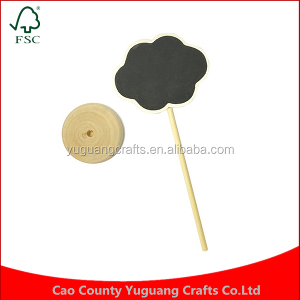 Manufacture custom made Party Wedding table Clouds MINI small shape wooden chalkboard tag Message Signs Board with Holder stand