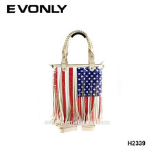 Custom leather usa flag tassel lady handbag