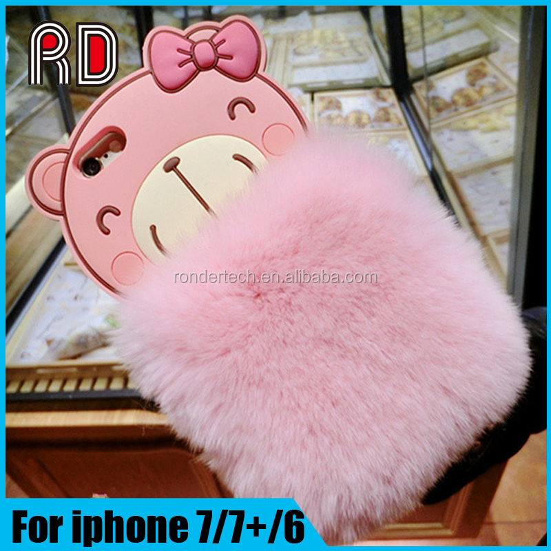 High quality with lanyard 3D silicone bear real rabbit fur backshell for iphone 7, for iphone 7 lovely bear case cover