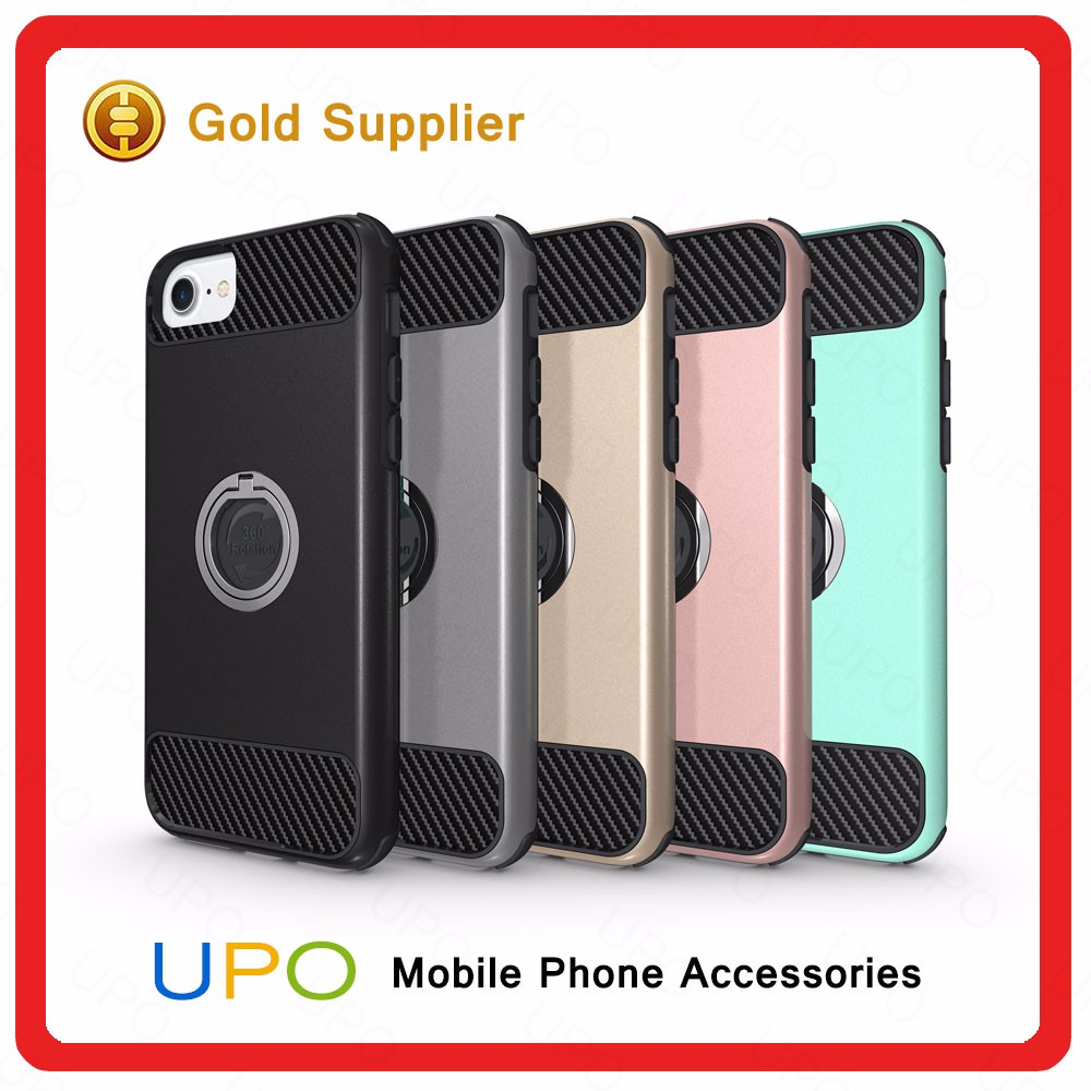 [UPO] 2017 Mobile Phone Accessories for iPhone 7 Back Cover Armor Shockproof Case With 360 Rotating Ring Buckle