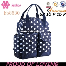 blue and white dots diaper bag