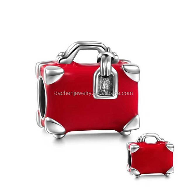 Cute Red Suitcase 925 Sterling Silver European Beads DIY Charm Fine Jewelry Manufacturer China