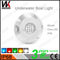 316L Stainless Steel Swimming Pool Boat Marine Yatch Led lights Crees 12Volts IP68 60w Underwater LED Light