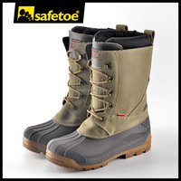 Industrial rubber safety boots steel toe snow boots with sheep lining H-9439