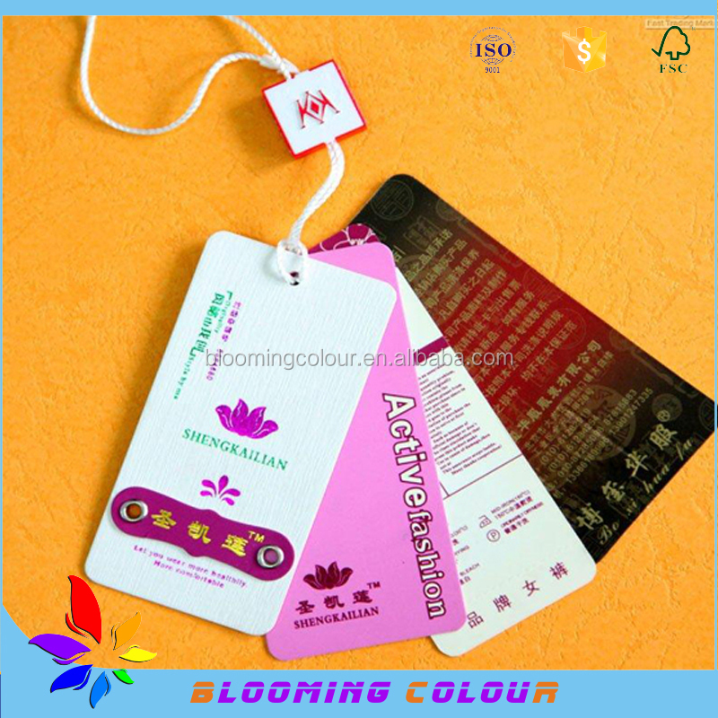 China manufacturer of custom made paper hang tag/different kinds of printed paper tag