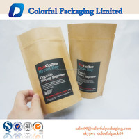 Zipper top kraft&aluminum foil pouch/Foil lined kraft paper packaging bags with tear notch and hanger hole