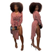 2018 New sexy bodycon party women spring summer dress hollow out split striped print shirt dress vestidos robe femme